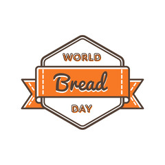 World Bread Day emblem isolated vector illustration on white background. 16 october food holiday event label, greeting card decoration graphic element