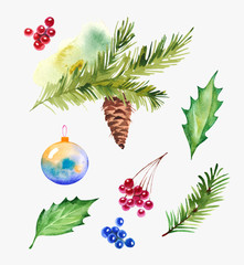 christmas design set with holly leaves, berries, spruce branches and christmas balls. Isolated on white background