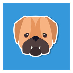 Dolorous Muzzle of English Bulldog Drawn Art Icon