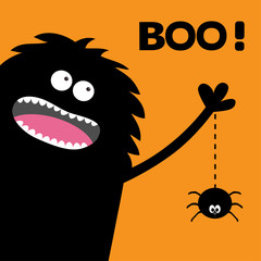 Screaming monster silhouette in the corner. Spider dash line web. Black Funny Cute cartoon baby character. Eyes, teeth, tongue, spooky hands. Happy Halloween Boo text. Flat Orange background.