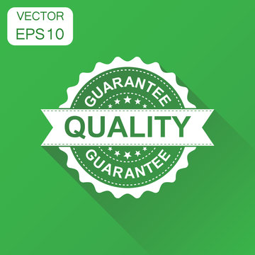 Guarantee quality rubber stamp icon. Business concept quality stamp pictogram. Vector illustration on green background with long shadow.