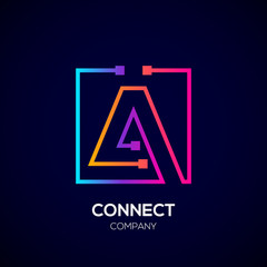 Letter A logo, Square shape, Colorful, Technology and digital abstract dot connection