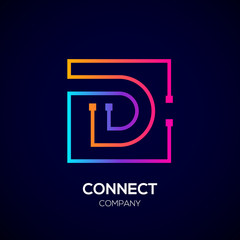 Letter D logo, Square shape, Colorful, Technology and digital abstract dot connection