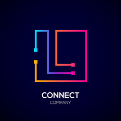 Letter L logo, Square shape, Colorful, Technology and digital abstract dot connection