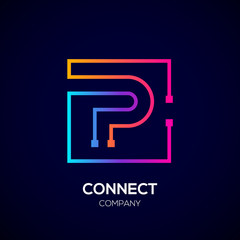 Letter P logo, Square shape, Colorful, Technology and digital abstract dot connection