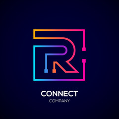 Letter R logo, Square shape, Colorful, Technology and digital abstract dot connection