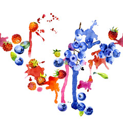 Forest, tasty, blue blueberries. Red, ripe, fragrant strawberry. Northern, fresh, sweet berries. Dirty, colorful, watery stripes. Watercolor. Illustration