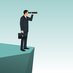 Looking on telescope. Vector illustration flat design. Isolated on white background. Business challenge search way to goal. Businessman standing on cliff. Visionary concept. Symbol leadership.