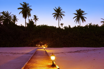 Jetty beach at sunset - Maldives