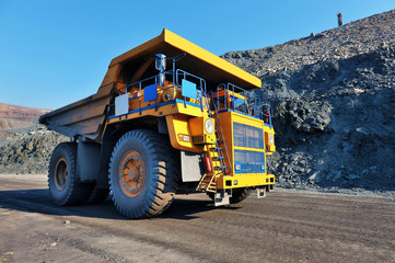 big trucks transport iron ore
