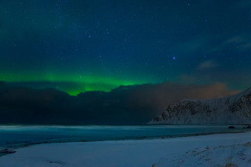 Winter Beach and Stars and Aurora Borealis