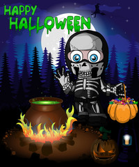 Halloween poster with  boy in a suit skeleton in forest. Vector illustration.