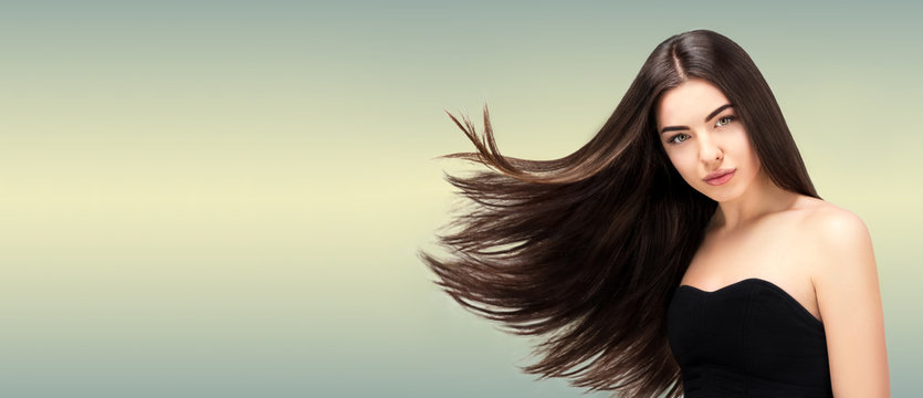 Hair Salon Beauty Fashion Model Woman Long Banner Healthy Brown Hair Looking At Camera Hairdresser Hairstyle Concept Buy This Stock Photo And Explore Similar Images At Adobe Stock Adobe Stock
