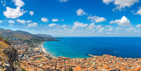 Aerial view of Cefalu in Sicily, Italy