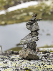 stack of stones in mountains in norway