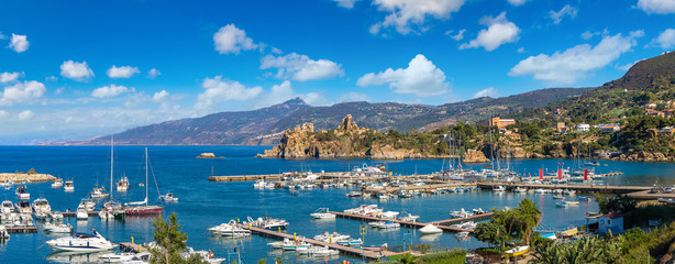 Coast of Cefalu in Sicily, Italy