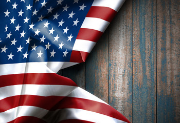 Waving American flag united states of america on wood texture , background