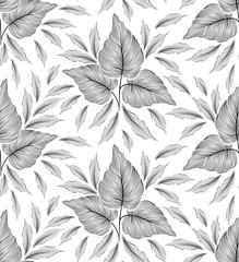 Seamless stylish leaf pattern