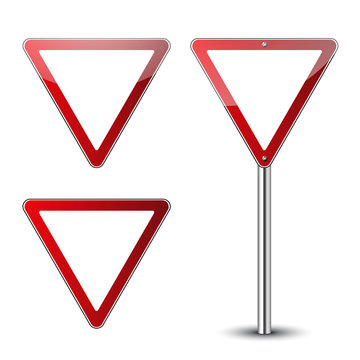 Yield triangle signs blank set. Traffic red road signs isolated on white background. Warning street safety icons for transportation. Guidepost pole. Empty signs template Vector illustration