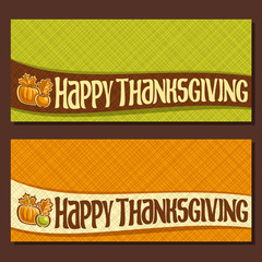 Vector banner for Thanksgiving day with copy space, autumn greeting card for thanksgiving holiday, on ribbon original handwritten text happy thanksgiving, fall harvest on abstract geometric background