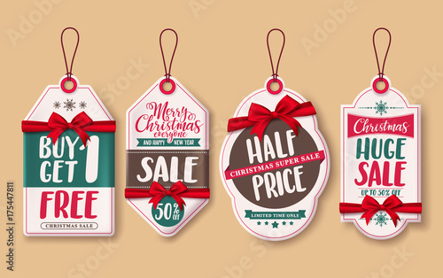 Christmas sale price tags vector set with red ribbons and