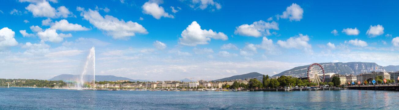 Geneva lake and Jet fountain in Geneva