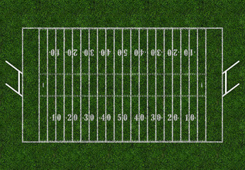 Rugby field with gates. Top view. American football.