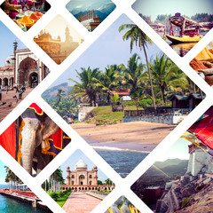 Collage of India and Sri Lanka images - travel background