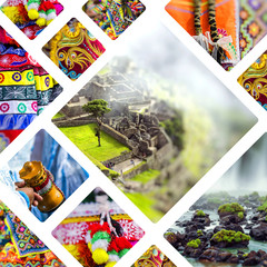 Collage of South America - Per and Brazil images - travel background