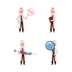 vector flat cartoon adult male grey-haired doctors wet. Men in white medical clothing holding big syringe, pill, clipboard and magnifying glass smiling. Isolated illustration on a white background.