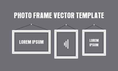 Photo Frame Vector Template For Banner, Wallpaper, Background in Trendy Flat Design Isolated in Black Background