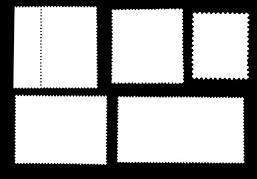 Set of  blank posted stamps isolated on black background.Template for graphic designers.Vector illustration