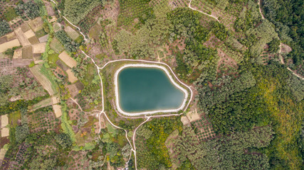 Aerial shot of a water reservoir.