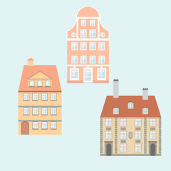 set of vector flat images of art Nouveau houses, old town.