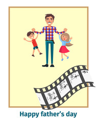 Happy Fathers Day Poster with Daddy and Children