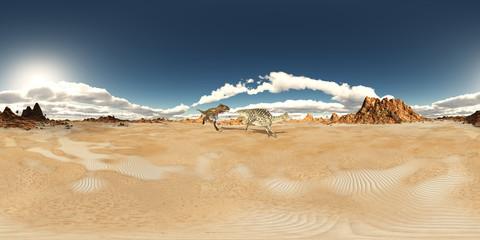 360 Grad Panorama mit den Dinosauriern Nanotyrannus und Velafrons