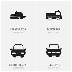 Set Of 4 Editable Shipment Icons. Includes Symbols Such As Bogie, Automotive, Vessel And More. Can Be Used For Web, Mobile, UI And Infographic Design.