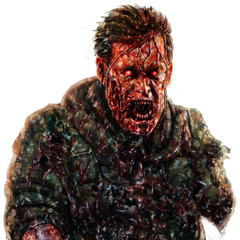 Angry zombie soldier shout concept. Illustration in horror genre.