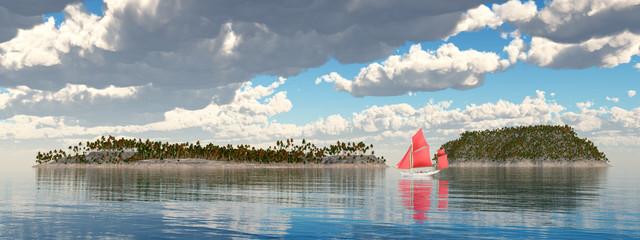 Segelboot und Inseln