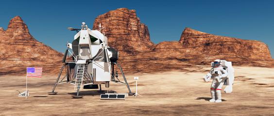 Mondlandefähre und Astronaut