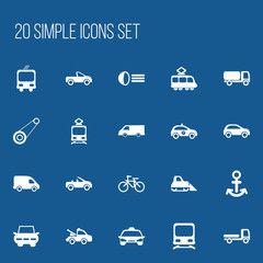 Set Of 20 Editable Transport Icons. Includes Symbols Such As Wagon, Transportation, Shipping And More. Can Be Used For Web, Mobile, UI And Infographic Design.