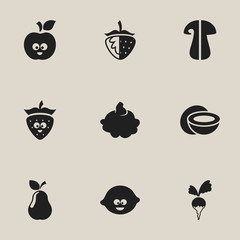 Set Of 9 Editable Cookware Icons. Includes Symbols Such As Lemon, Turnip,  Strawberry
