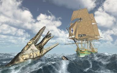Seeungeheuer und Segelschiff