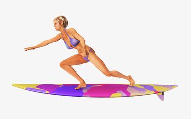 Surferin auf einem Surfbrett