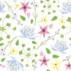 Watercolor wetland floral pattern with blue lily arrowhead red marshlocks yellow waterpoppy and green water chestnut on white background