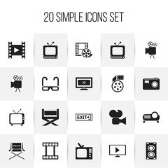 Set Of 20 Editable Filming Icons. Includes Symbols Such As Broadcast, Tripod, Widescreen And More. Can Be Used For Web, Mobile, UI And Infographic Design.