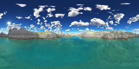 360 Grad Panorama mit einem Gebirgssee