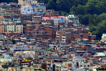 Korea, Landscape of the city with houses.