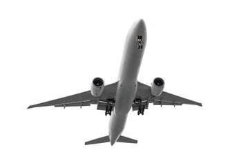 Passenger airplane isolated on white background.