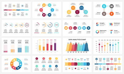 Vector arrows infographic, diagram chart, graph presentation. Business report with 3, 4, 5, 6, 7, 8 options, parts, steps, processes. Timeline. Data analytics. Percentage status. Growth success